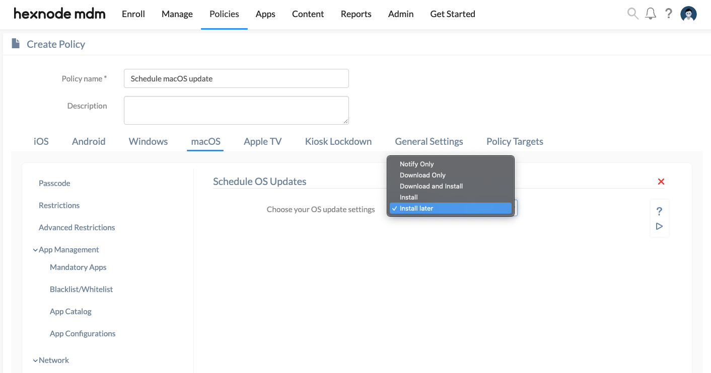Confirm that the checkbox update inventory is selected. How To Schedule Os Updates On Macos Devices Hexnode Help Center