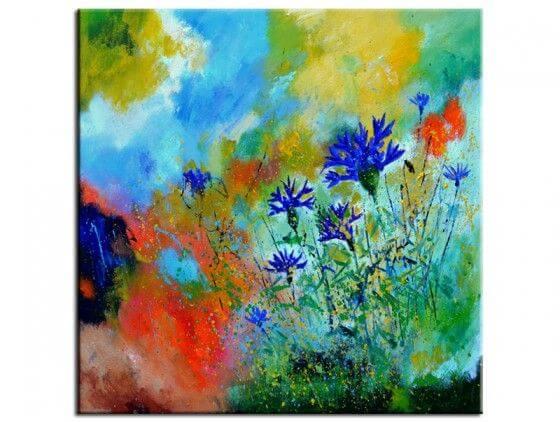 tableau peinture bleuets des champs
