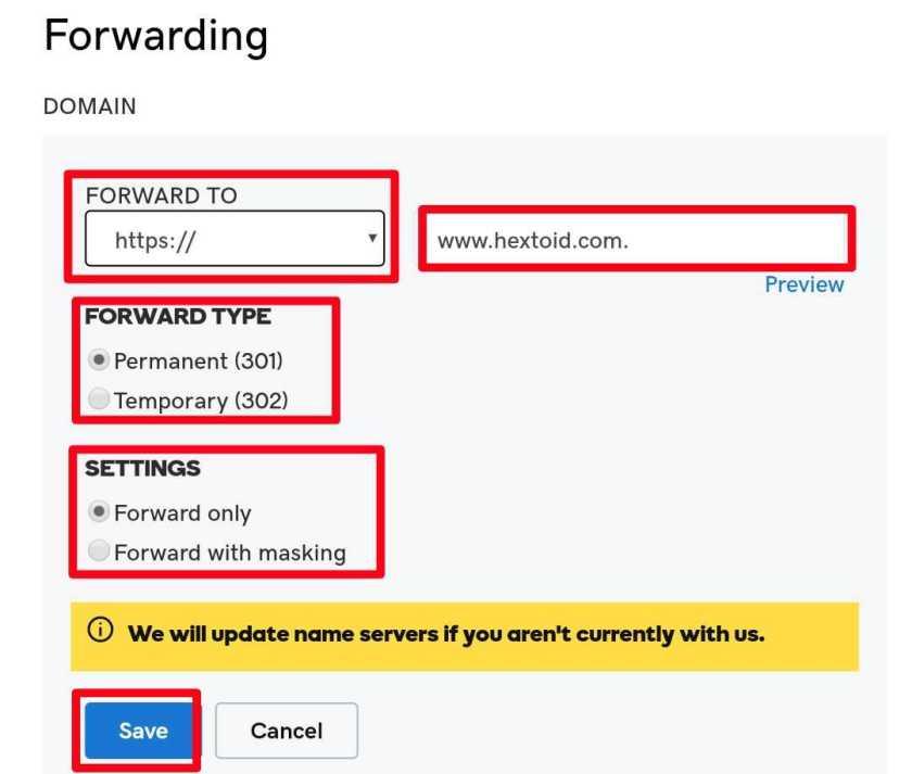 Domain-Forwarding 301 setup