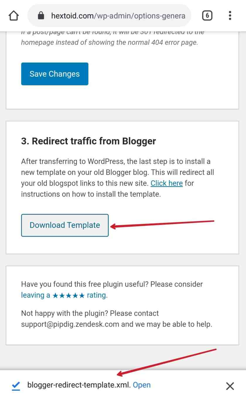 Click Download Template
