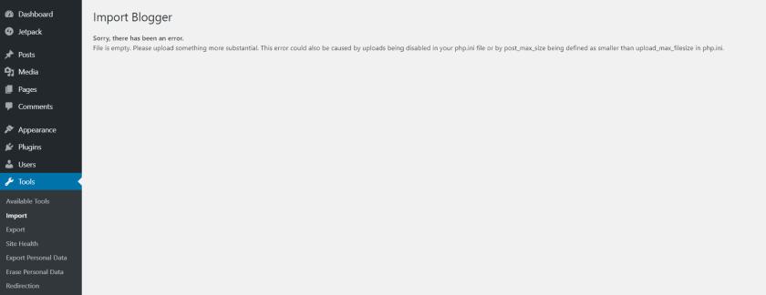 Import Blogger Error While Uploading XML File