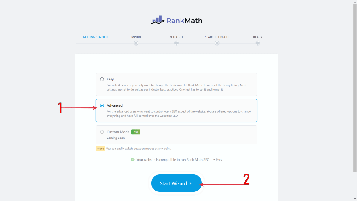 Select Advanced > Click Start Wizard  To Set Up Yoast To Rank Math Migration