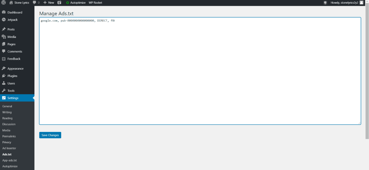 Navigate to Settings > Ads.txt > and type Ads.txt code