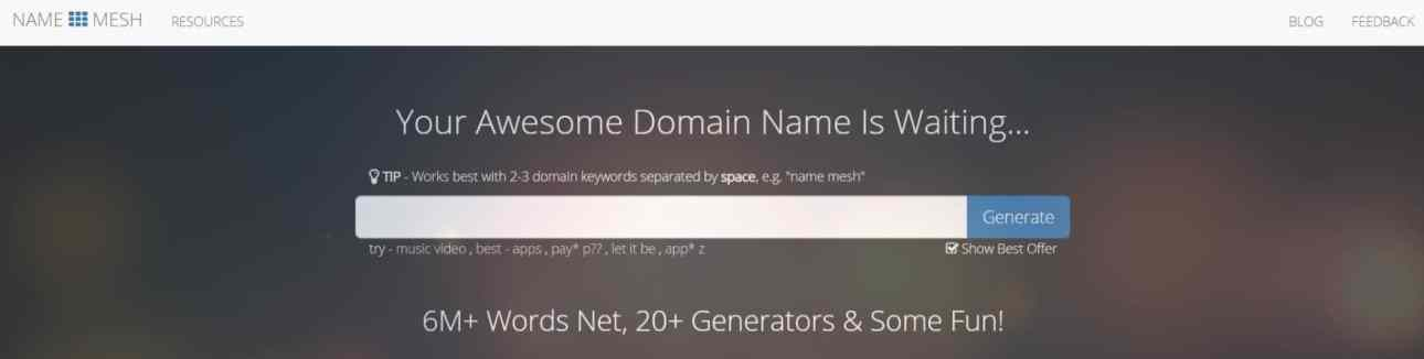 Name Mesh: Domain Name Generator For Perfectionists