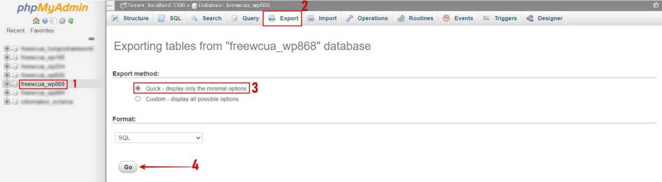 Click on the DB_NAME that you copied > Export > Go