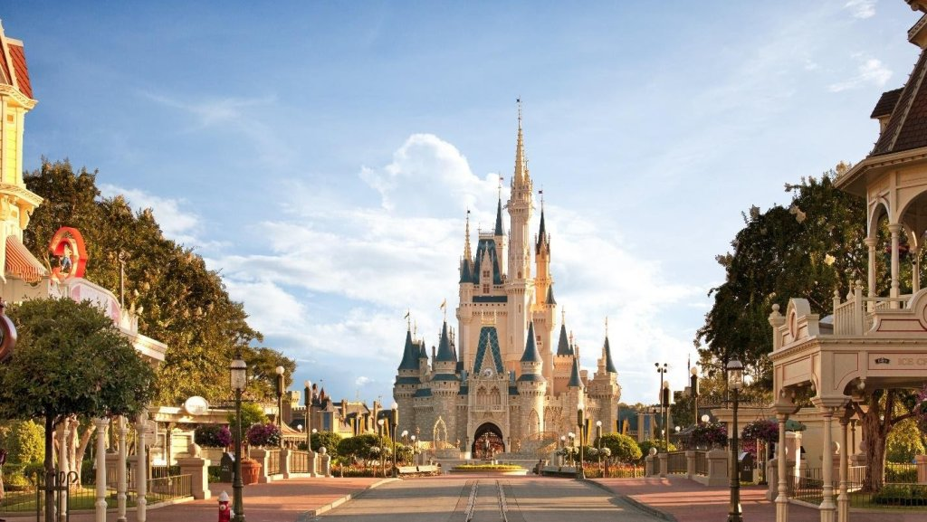 Walt Disney World castle with a beautiful blue sky in the background.