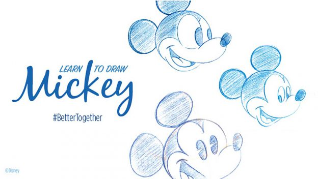 Sketches of Mickey Mouse with text saying How to draw Mickey Mouse