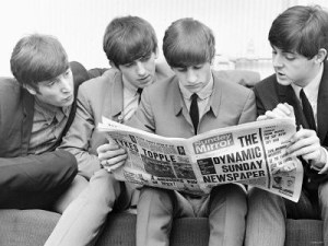 Beatles read the Sunday Mirror