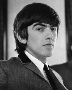 Portrait of guitarist George Harrison of The Beatles.