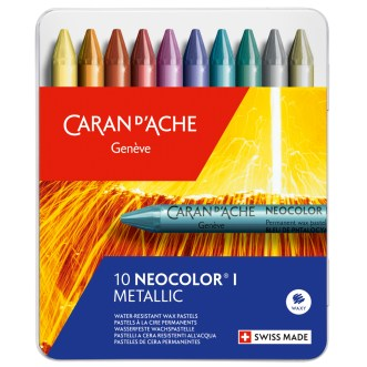 Caran D'Ache Neocolor I set of 10 metallic pastels