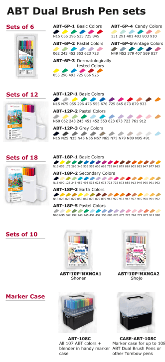Tombow ABT pen assortment set colour chart
