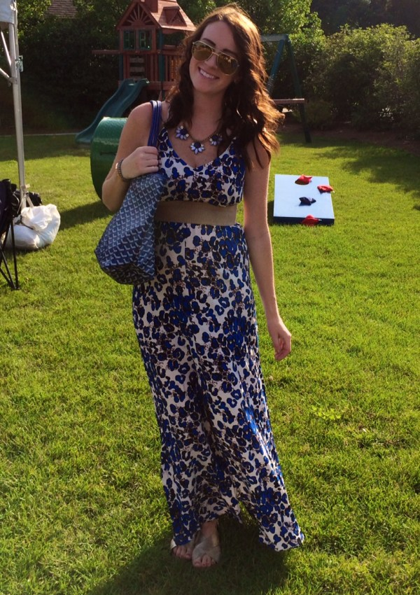 Belted Blue Maxi and a Big Belly!