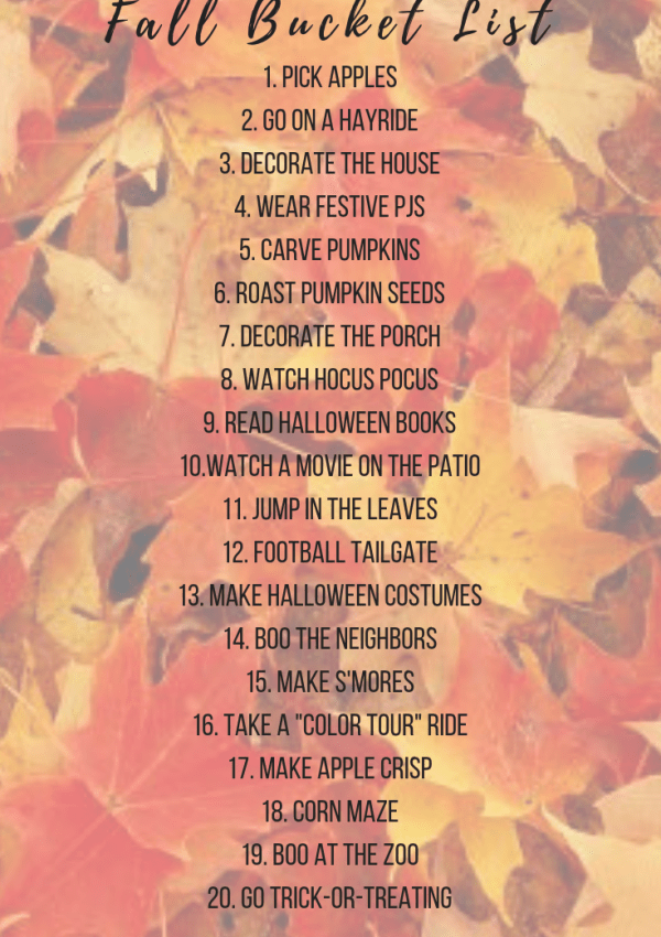 Fall Bucket List & Traditions