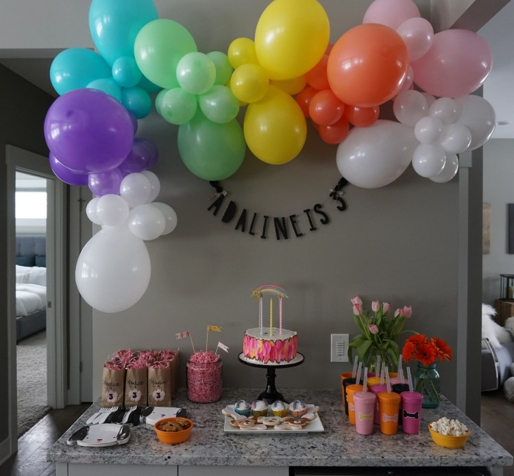 heyitsjenna rainbow balloon arch party