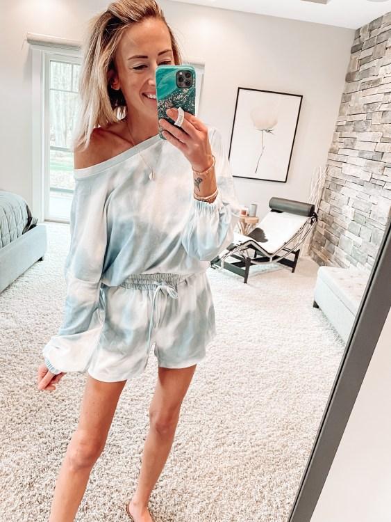 amazon fashion tie dye loungewear pajamas two piece set