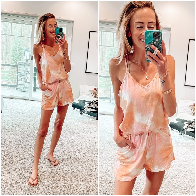 spring amazon romper, tie dye, beac vacation outfit