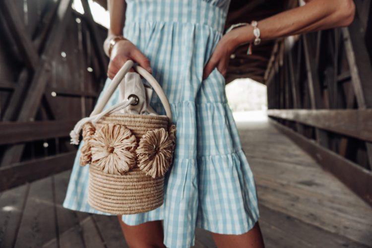 poolside raffia bucket bag for spring