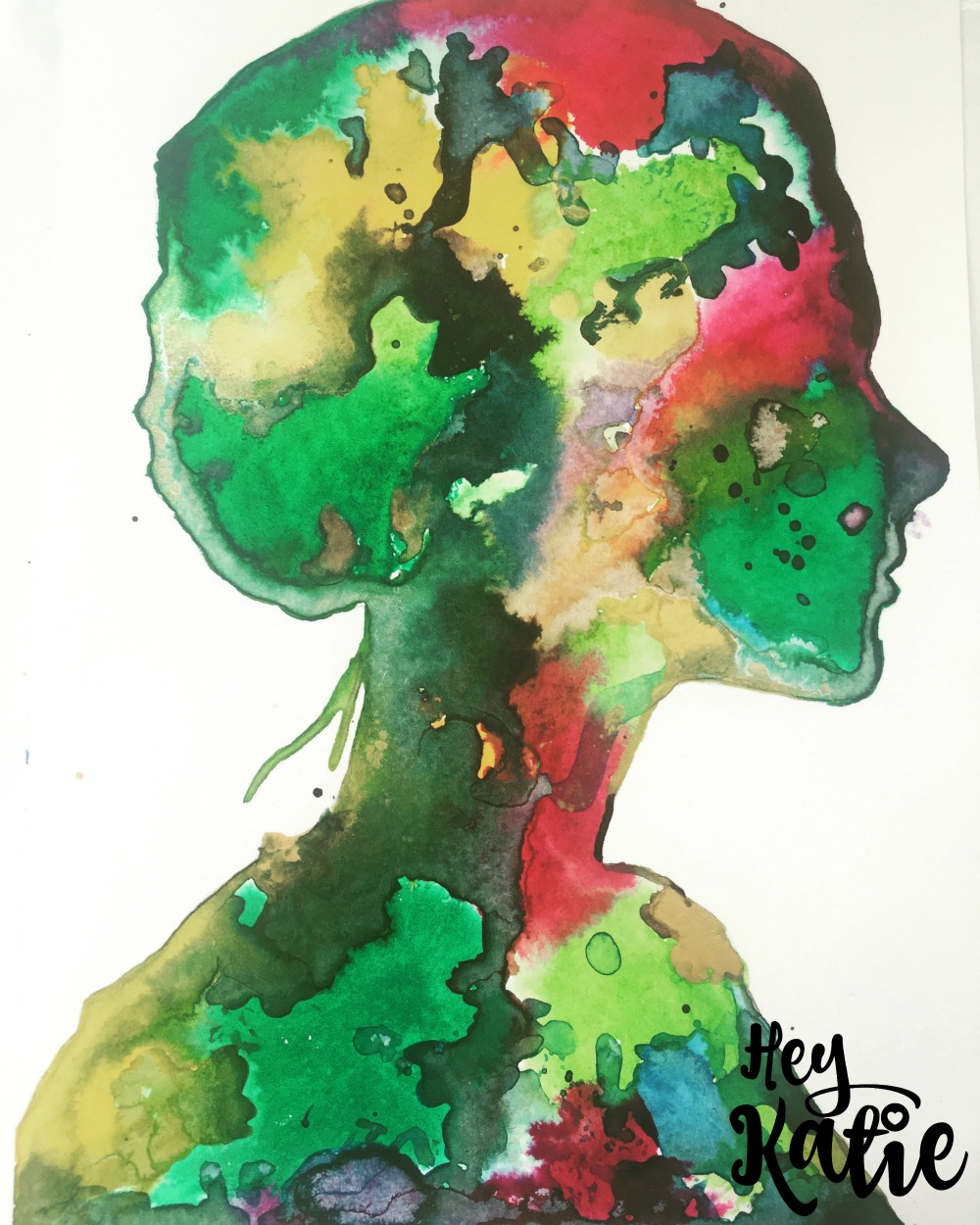 Silhouette portrait with Liquitex acrylic inks