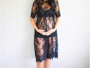 Robe dentelles noire maternité