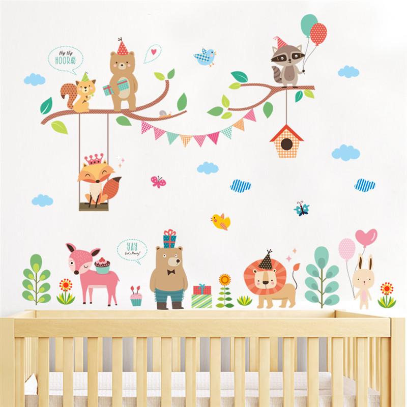 Autocollant pour décorer la chambre de bébé - Thème animaux en fête