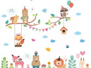 Sticker mural déco chambre bébé enfant - Thème animaux en fête