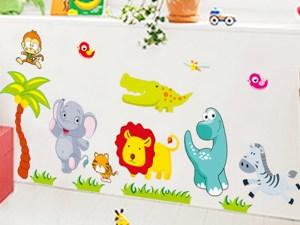 Stickers muraux animaux mignons de la jungle