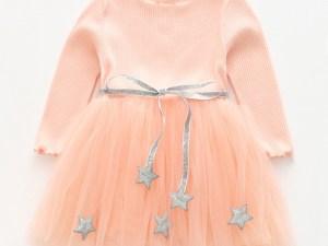 Robe de célébration enfant fille, couleur rose, avec manches, robe pour les fêtes, cérémonies, célébrations, événements