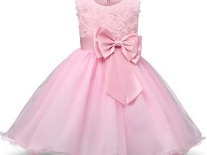 Robe fille enfant célébration - couleur rose bonbon - robe de princesse avec nœud papillon
