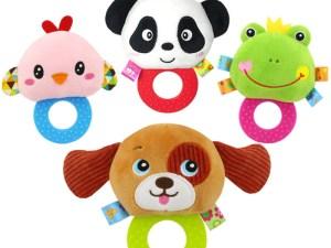 Anneau de dentition bébé - Hochet peluche animaux multicolores