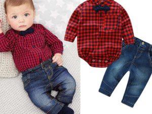 Ensemble jean et chemise rouge à carreaux pour bébé