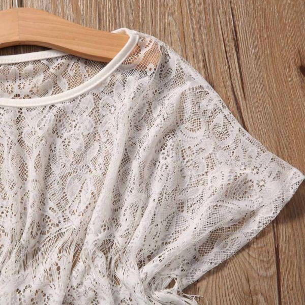 Détails ensemble blanc pour fille - Manches courtes