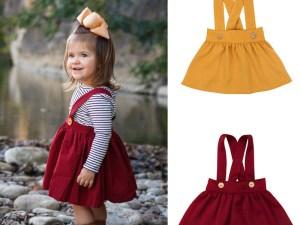 Jupe bretelles pour bébé fille - 2 couleurs au choix : bordeaux ou jaune
