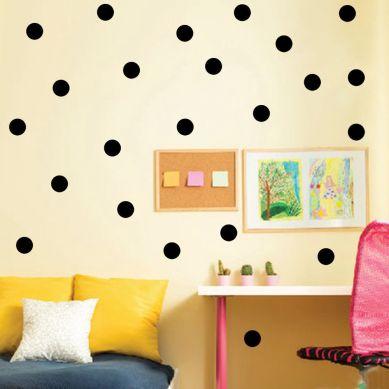 Stickers muraux pastilles couleur noir déco chambre enfant