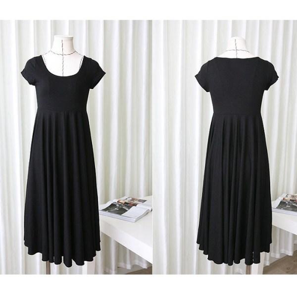 Robe d'été souple couleur noir - Robe grossesse