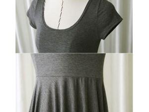 Détails de la robe grise pour femme enceinte