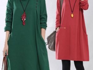 Robe tunique de grossesse - automne, hiver et printemps - couleur vert ou rouge