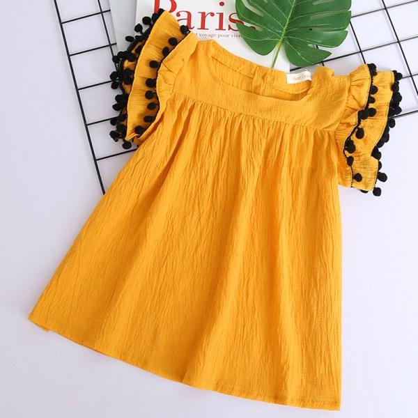 Robe jaune mi-longue pour fille