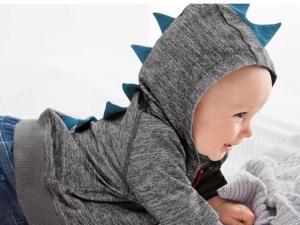 Veste bébé gris foncé épines bleues de dinosaure