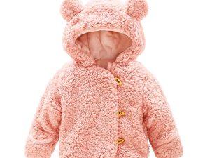 Veste hiver ours rose pour bébé fille