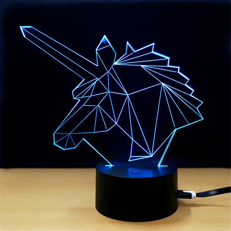Lampe licorne 3D lumière bleue
