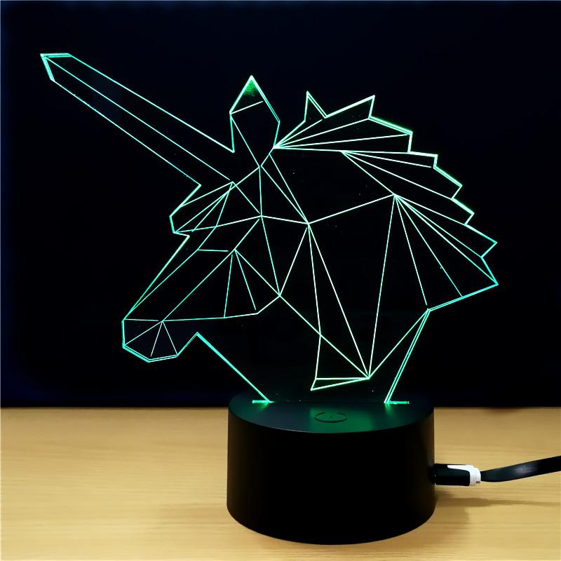 Lampe licorne 3D lumière verte