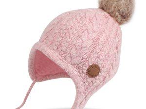Bonnet bébé couleur rose avec pompon
