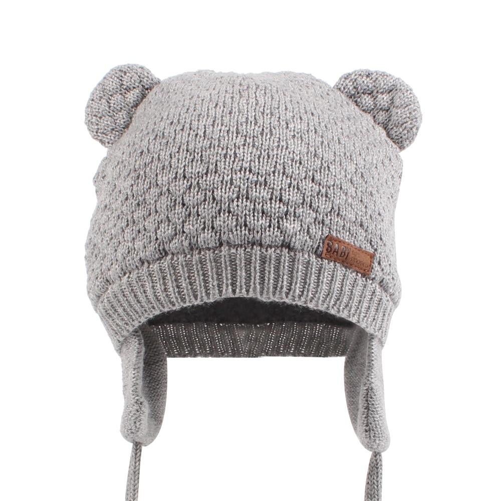 Bonnet bébé gris avec cache-oreilles