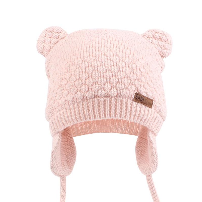 Bonnet bébé rose avec cache-oreilles