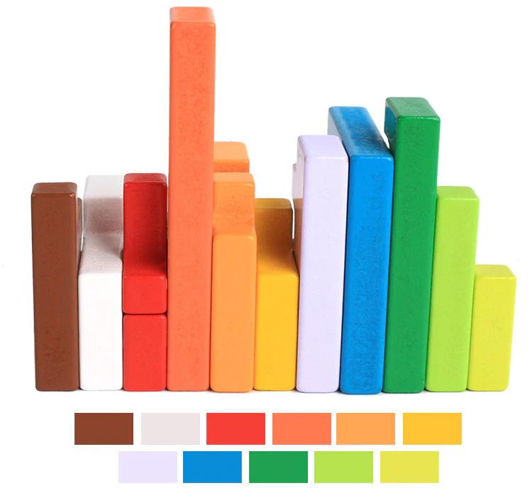 Blocs en bois différentes couleurs