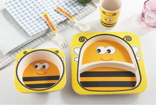 Vaisselle bébé fibre de bambou - Modèle abeille jaune