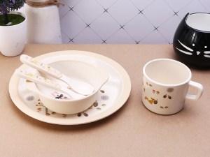 Assiette et couverts, bol et gobelet en bambou pour bébé
