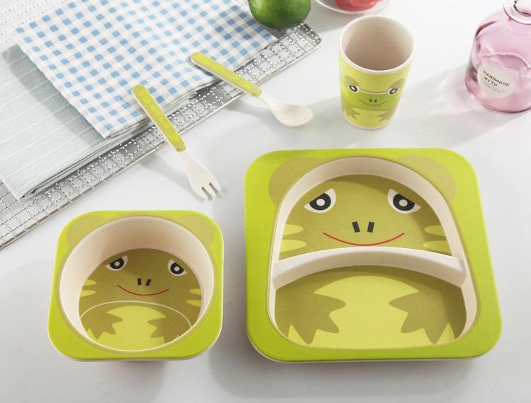 Vaisselle bébé bambou - Modèle grenouille