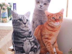 Chats réalistes en peluche : chat gris à rayures noires, chat roux et chat gris