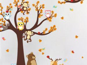 Sticker mural animaux dans la forêt - Sticker chambre garçon ou fille